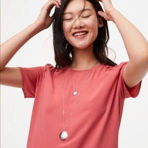 LOFT long silver disk pendant necklace